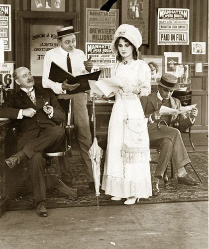 Florence Lawrence, popularly considered America's first film star, in a scene shot at the Champion studio