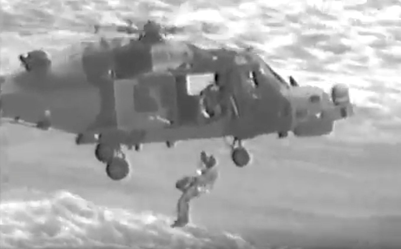 Helicopter Crew Plucks Mum And Kids From Boat Capsized By Hurricane