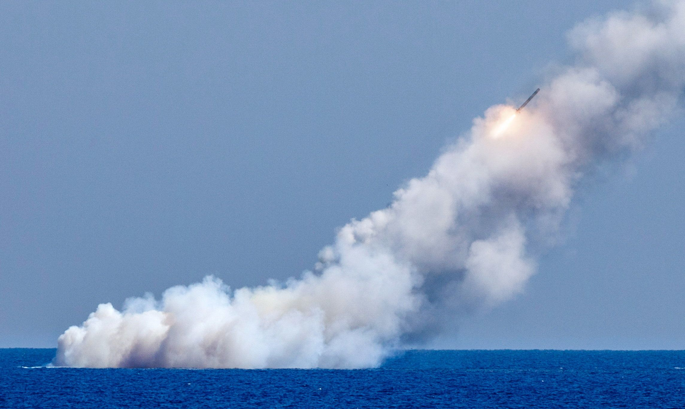 MEDITERRANEAN SEA - SEPTEMBER 14, 2017: Russia's Veliky Novgorod and Kolpino submarines fire the Kalibr cruise missiles from the eastern Mediterranean to hit Islamic State militants' bases in Syria. Vadim Savitsky/Russian Defence Ministry Press Office/TASS (Photo by Vadim Savitsky\TASS via Getty Images)