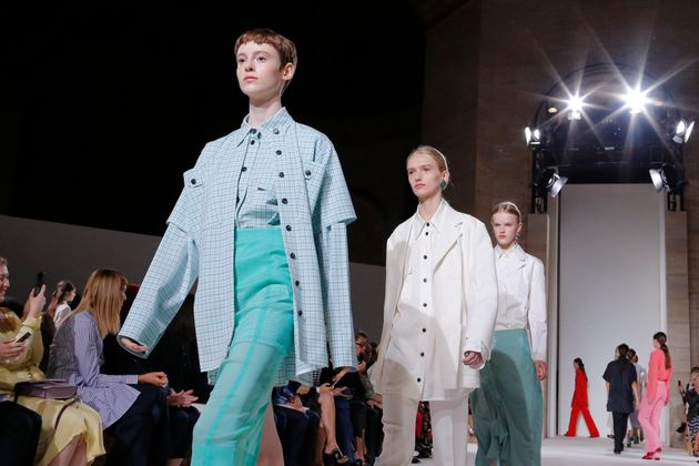 Models walk the runway for the Victoria Beckham SS18 show during New York Fashion Week on 10 September