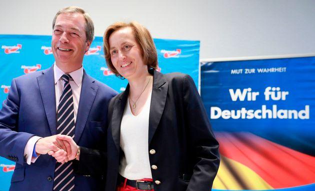 Nigel Farage meets Beatrix bon Storch, the AfD's deputy leader, on September