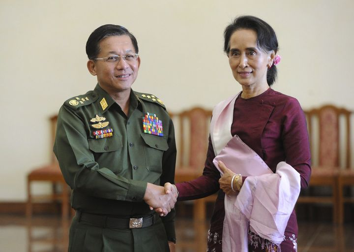 Balance of Power: Top General Min Aung Hlaing's (left) Tatmadow remains firmly in control of Myanmar