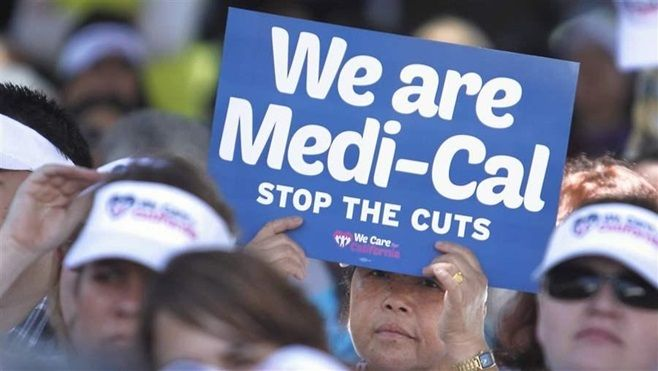 Health care workers in California protest 2013 cuts to the state's Medicaid program that decreased payments to providers. The
