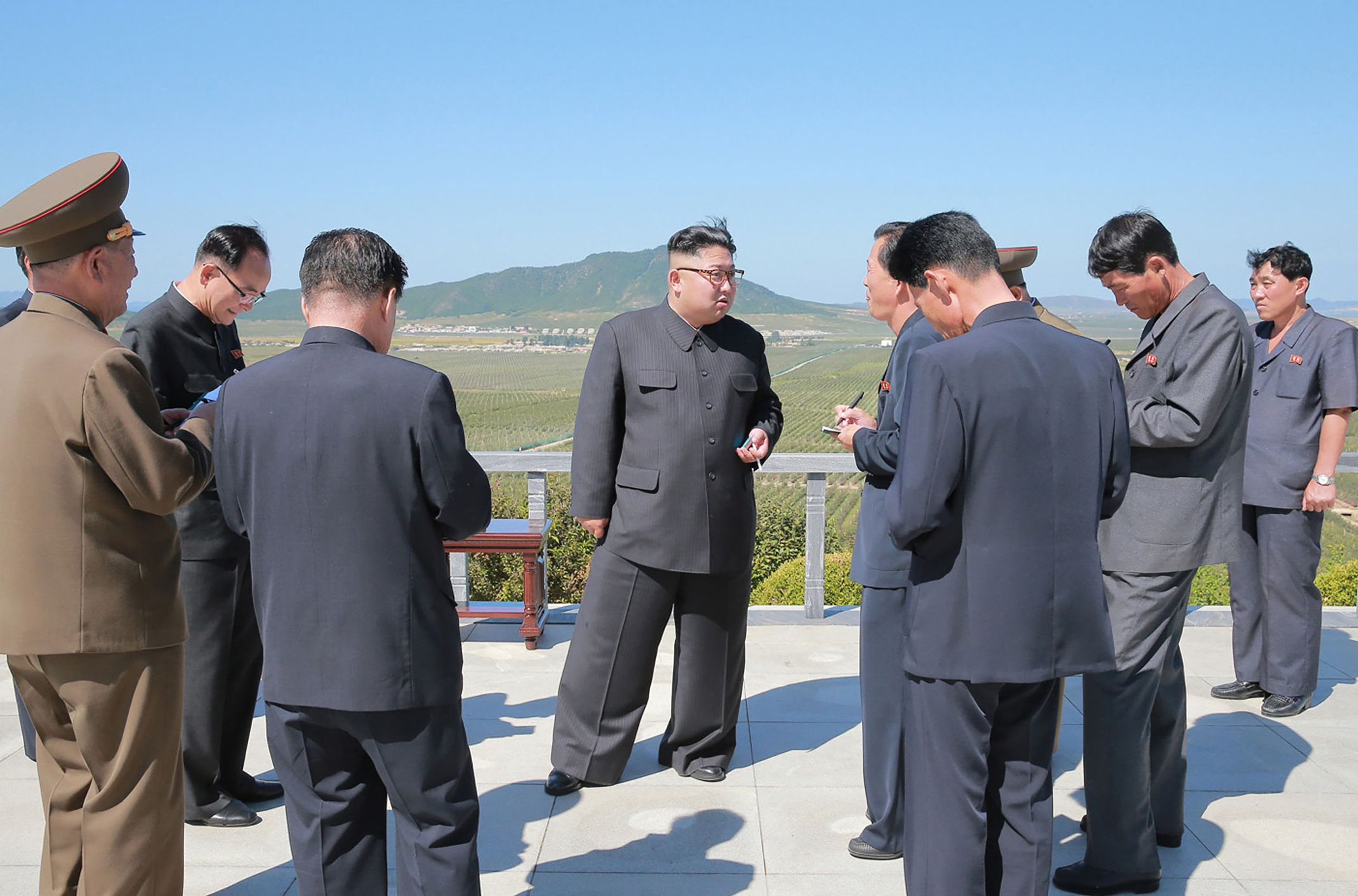 This undated picture released from North Korea's official Korean Central News Agency (KCNA) on September 21, 2017 shows North Korean leader Kim Jong-Un watching products while visiting Kwail-?p County, South Hwanghae Province. / AFP PHOTO / KCNA VIS KNS AND AFP PHOTO / STR / South Korea OUT / REPUBLIC OF KOREA OUT   ---EDITORS NOTE--- RESTRICTED TO EDITORIAL USE - MANDATORY CREDIT 'AFP PHOTO/KCNA VIA KNS' - NO MARKETING NO ADVERTISING CAMPAIGNS - DISTRIBUTED AS A SERVICE TO CLIENTS THIS PICTURE WAS MADE AVAILABLE BY A THIRD PARTY. AFP CAN NOT INDEPENDENTLY VERIFY THE AUTHENTICITY, LOCATION, DATE AND CONTENT OF THIS IMAGE. THIS PHOTO IS DISTRIBUTED EXACTLY AS RECEIVED BY AFP.  /         (Photo credit should read STR/AFP/Getty Images)
