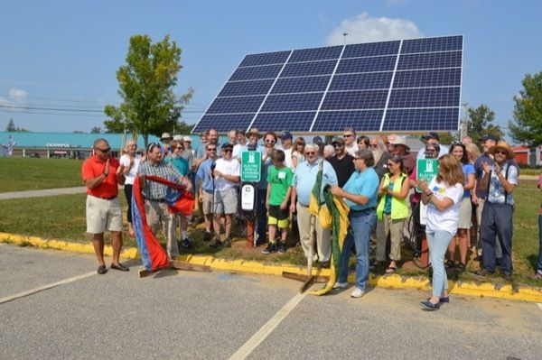 <em>Ribbon cutting ceremony for the new solar powered EV charging stations at Oxford Hills High School. Photo taken during th