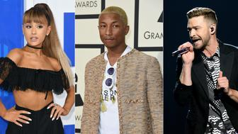 (COMBO) This combination of pictures created on September 6, 2017 shows file photos (L-R) of singer Ariana Grande at the 2016 MTV Video Music Awards on August 28, 2016, in New York; singer Pharrell Williams at the 58th Annual Grammy Music Awards on February 15, 2016, in Los Angeles; singer Justin Timberlake performing after the second dress rehearsal for the Eurovision Song Contest final on May 13, 2016, in Stockholm.    Grande, Timberlake and Williams on September 6, 2017, announced a unity concert in Charlottesville, Virginia, in the wake of a violent white supremacist rally. Promoters said that the September 24 concert at the University of Virginia's Scott Stadium would be free, although they encouraged donations. The funds will support people affected by the violence as well as 'organizations devoted to the promotion of healing, unity and justice locally and nationwide,' a concert announcement said.  / AFP PHOTO / TO GO WITH AFP STORY 'Ariana Grande among stars at Charlottesville unity concert'        (Photo credit should read ANGELA WEISS,VALERIE MACON,JONATHAN NACKSTRAND/AFP/Getty Images)