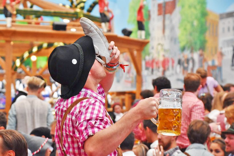 This Oktoberfest-er decided to chug some of his beer of out a shoe.