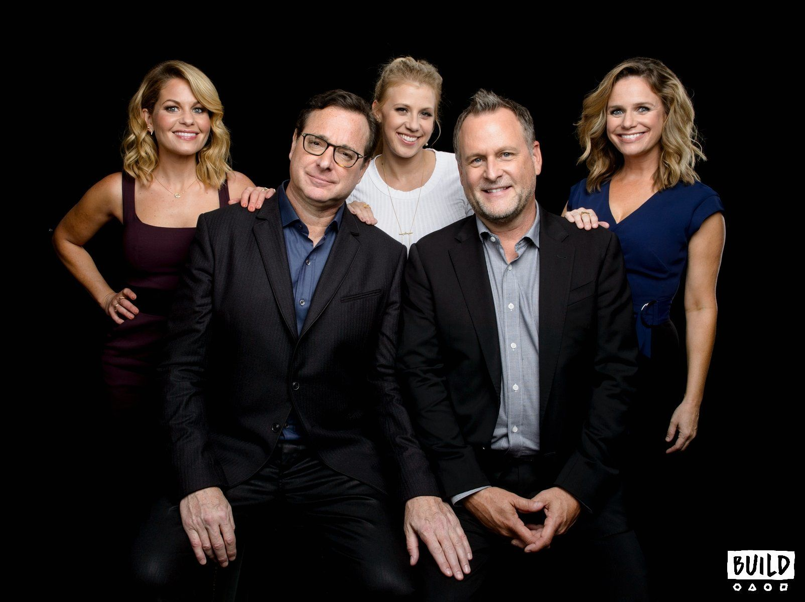 Bob Saget, Candace Cameron Bure, Jodie Sweetin, Andrea Barber & Dave Coulier (Fuller House) visit Build Series NYC on September 18, 2017 in New York. Photos by Noam Galai