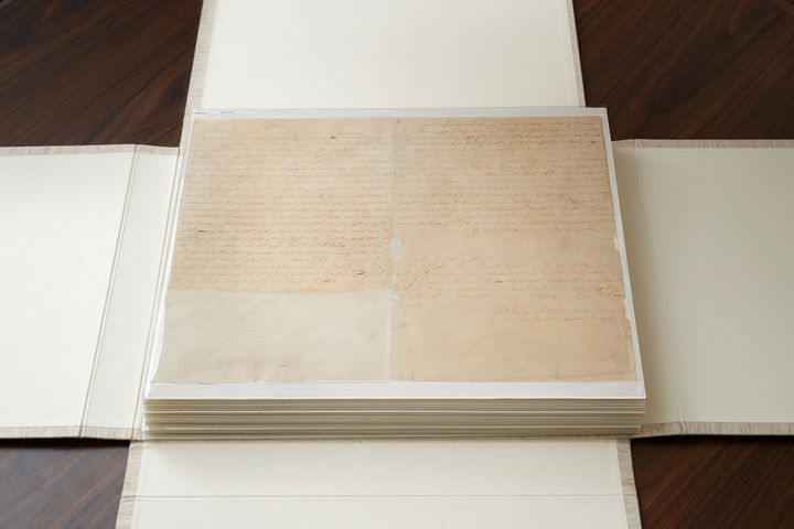 These are the first couple of pages of the printer's manuscript of the Book of Mormon. It is enclosed by folding the casing a