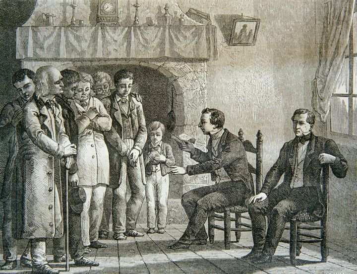 An engraving of Joseph Smith reading the Book of Mormon.
