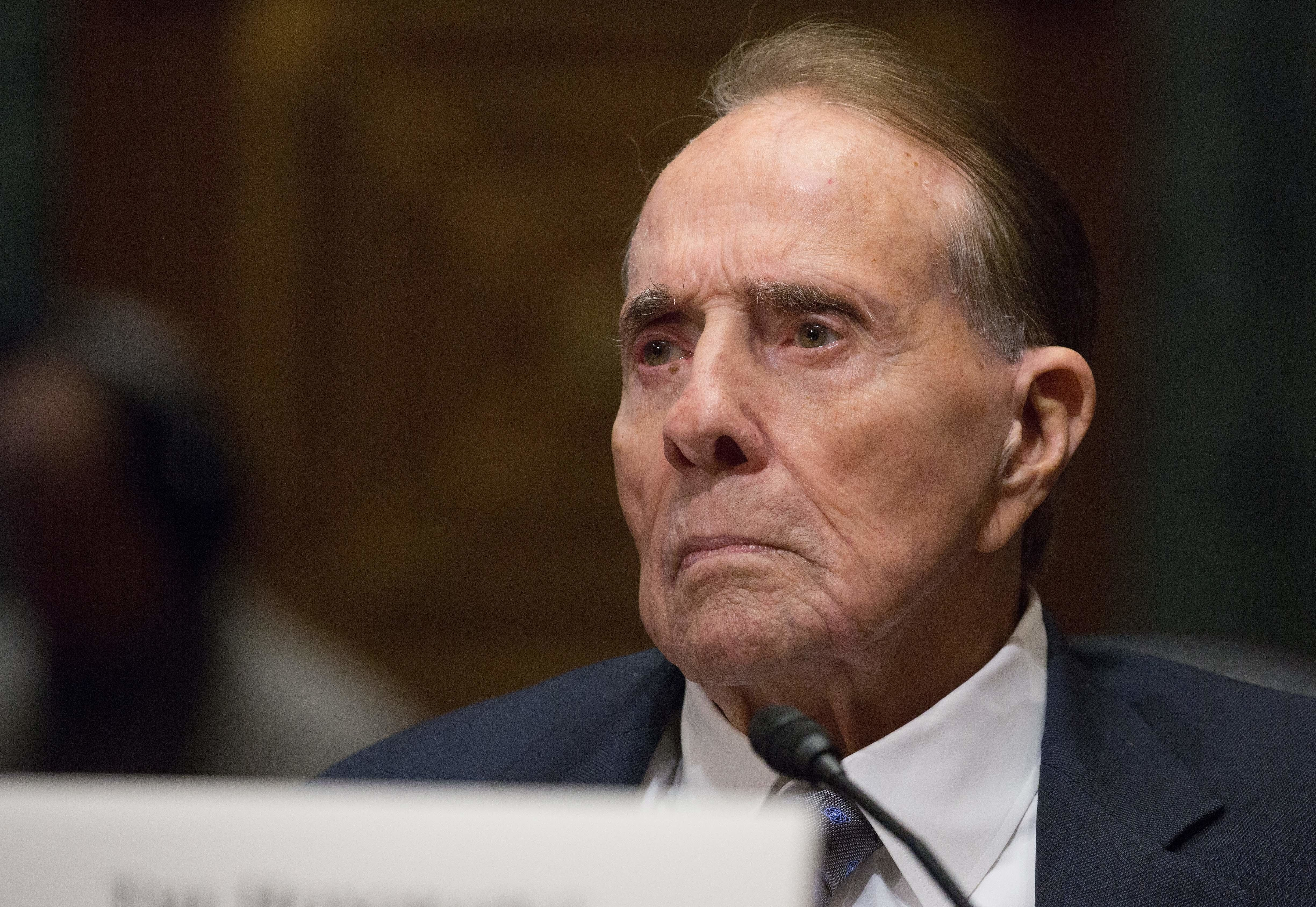 Former Senator Bob Dole attends the Senate Finance Committee full hearing on the nomination of the U.S Trade Representative Robert Lighthizer in Washington, DC March 14, 2017. / AFP PHOTO / Tasos KATOPODIS        (Photo credit should read TASOS KATOPODIS/AFP/Getty Images)