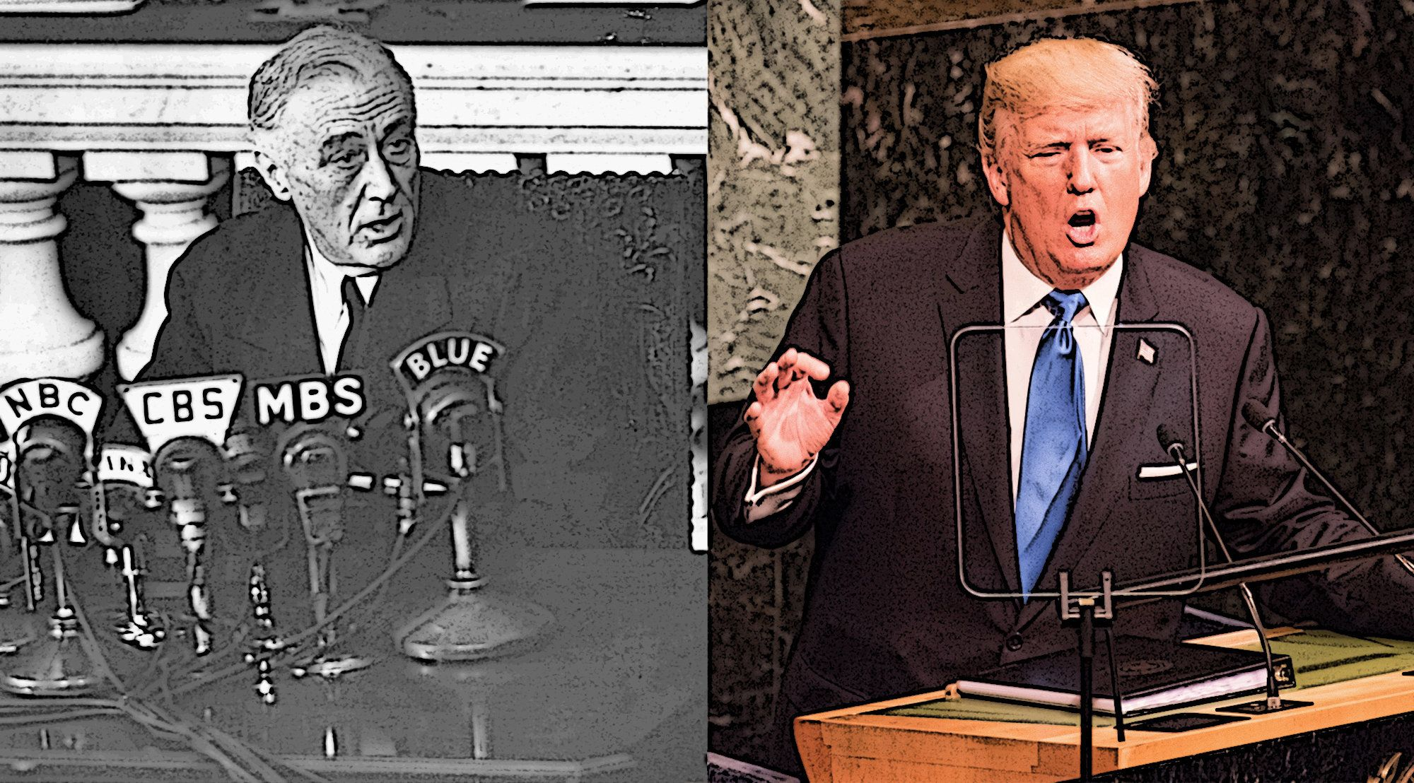 Left: U.S. President Franklin D. Roosevelt speaks to the nation in 1942. Right: U.S. President Donald Trump addresses the U.N