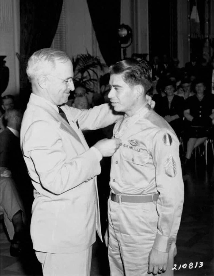 Sgt. Macario Garcia receives the Congressional Medal of Honor from President Harry S. Truman.