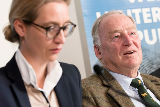 AfD bundestag candidates Alice Weidel and Alexander Gauland at a press conference in Berlin last