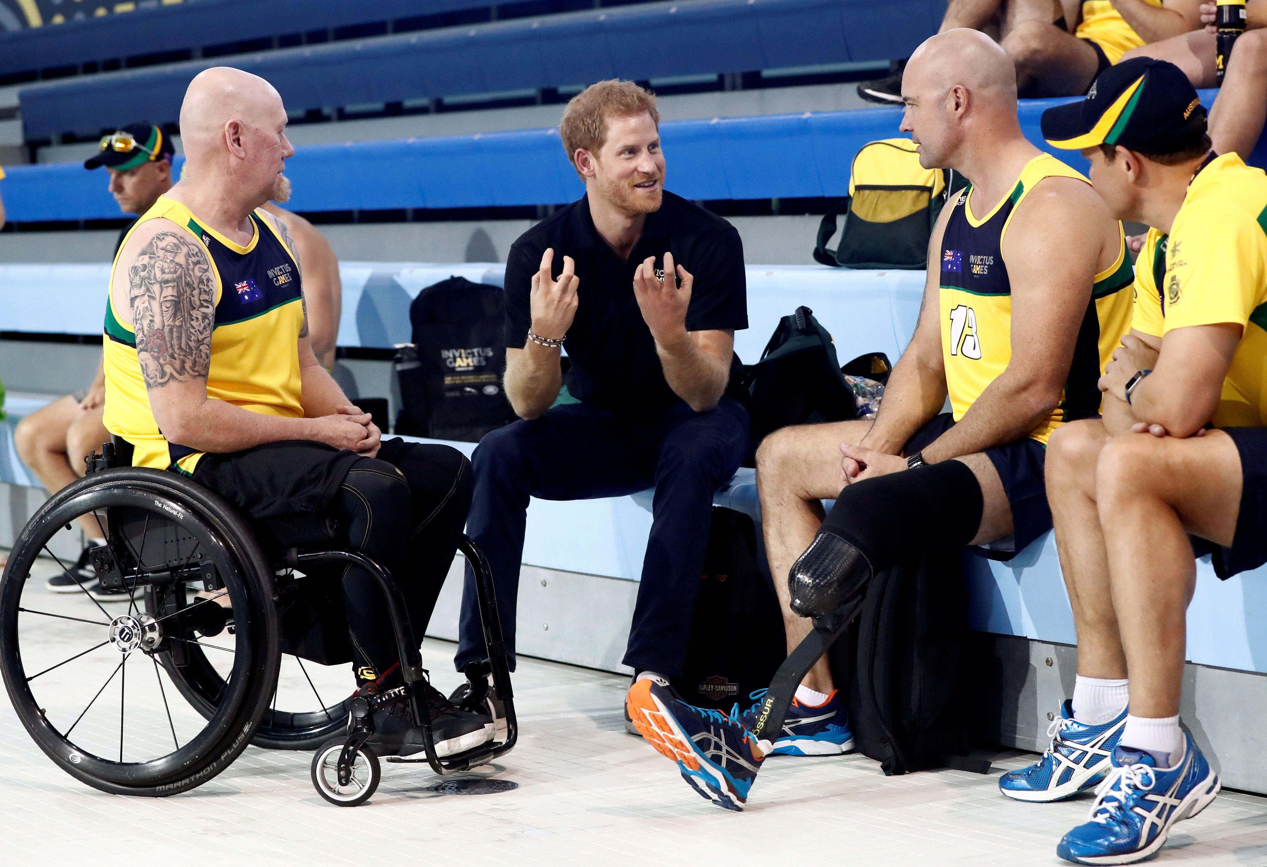 Prince Harry speaks to athletes on Sept. 22 ahead of the 2017 Invictus Games in Toronto.