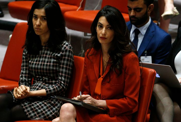 Nadia Murad, an ISIS survivor, and Amal Clooney attend a Security Council meeting set to adopt a resolution to help preserve