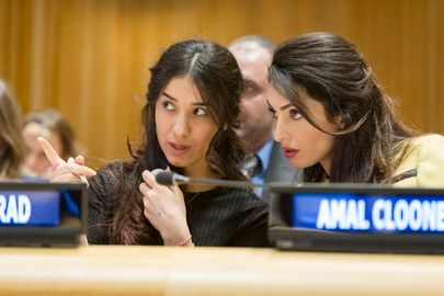 Nadia Murad and Amal Clooney at event in March by the UN Office on Drugs and Crime.