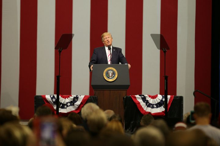 President Donald Trump speaks at a campaign rally for Sen. Luther Strange at the Von Braun Center in Huntsville, Alabama.