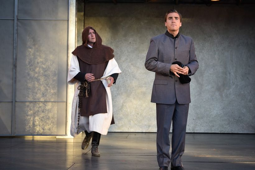 Angelo (David Graham Jones) and the Duke (Rowan Vickers) in a scene from <strong><em>Measure for Measure</em></strong>