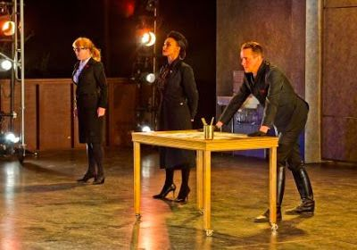 Provost (Patty Gallagher), Escalus (Tristan Cunningham), and Angelo (David Graham Jones) in a scene from <em><strong>Measure