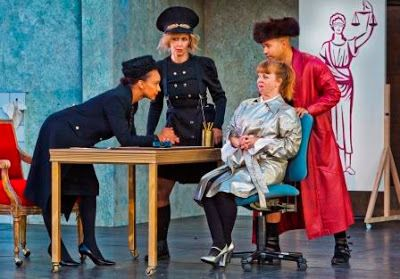 Escalus (Tristan Cunningham), Elbow (Annie Worden), Froth (Patty Gallagher), and Pompey (Kevin Matthew Reyes) in a scene from