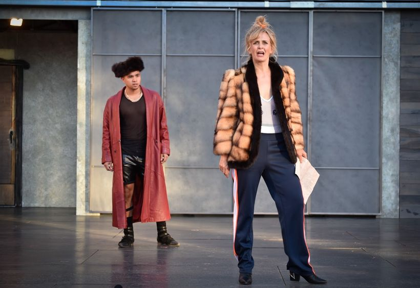 Pompey (Kevin Mathew Reyes) and Mistress Overdone (Annie Worden) in a scene from <strong><em>Measure for Measure</em></strong
