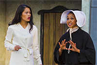 Isabella (Lindsay Rico) and Francisca (Tristan Cunningham) in a scene from <strong><em>Measure for Measure</em></strong>