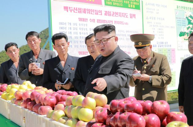 North Korea's Kim Jong-Un pointing at some apples earlier this