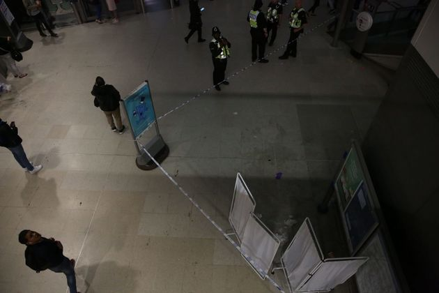 An area was cordoned off at Stratford