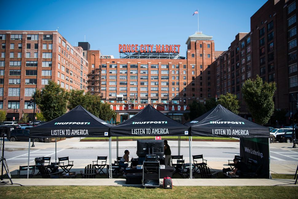 HuffPost tents are set up at the Ponce City Market.