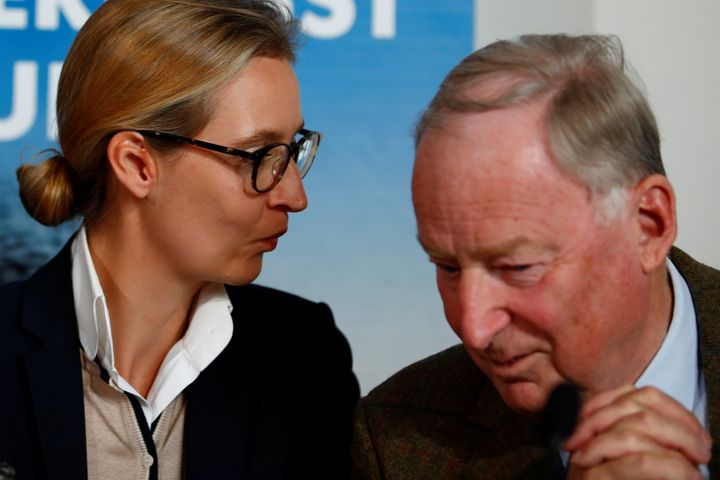 Co-lead AFD candidates Alexander Gauland and Alice Weidel attend a news conference in Berlin, Germany Sept. 18, 2017.