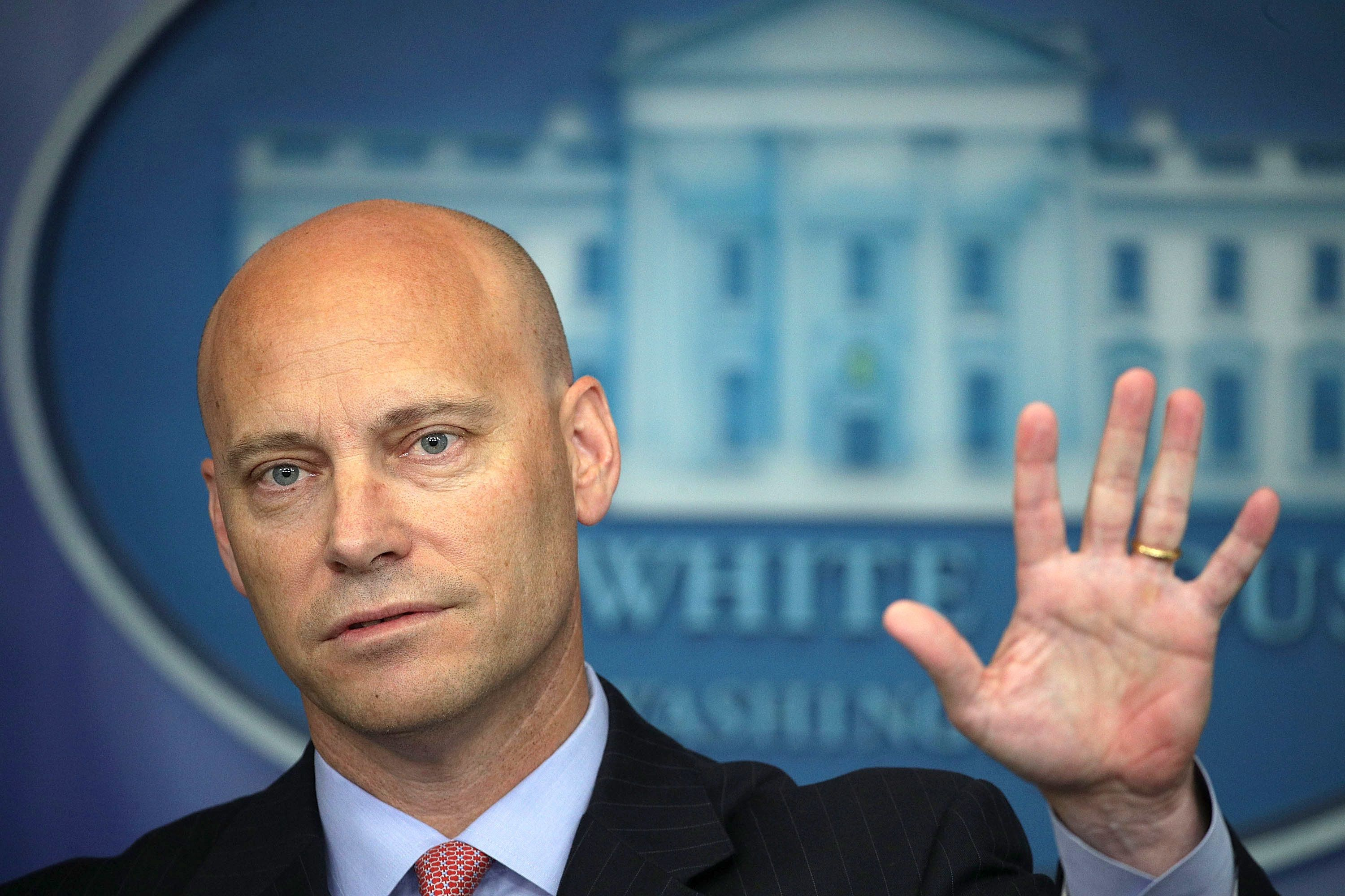 WASHINGTON, DC - JULY 10:  White House Director of Legislative Affairs Marc Short gestures as he speaks during a White House daily briefing at the James Brady Press Briefing Room of the White House July 10, 2017 in Washington, DC. Huckabee Sanders held a daily briefing to answer questions from members of the White House press corps.  (Photo by Alex Wong/Getty Images)