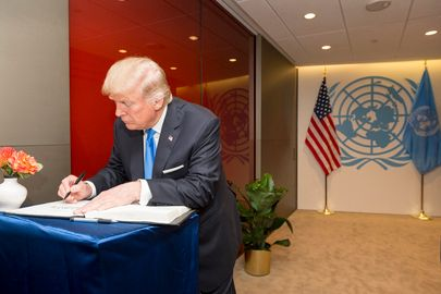 President Trump signs guest book at UN on Sept. 19