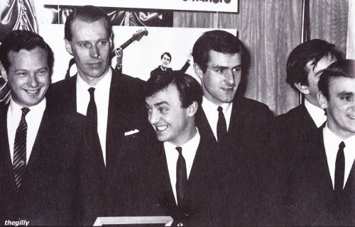 (L to R) Brian Epstein, George Martin, and Gerry and the Pacemakers