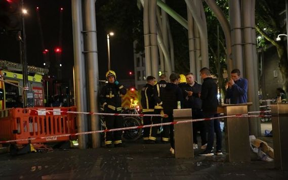 Emergency services at a cordoned-off area at the