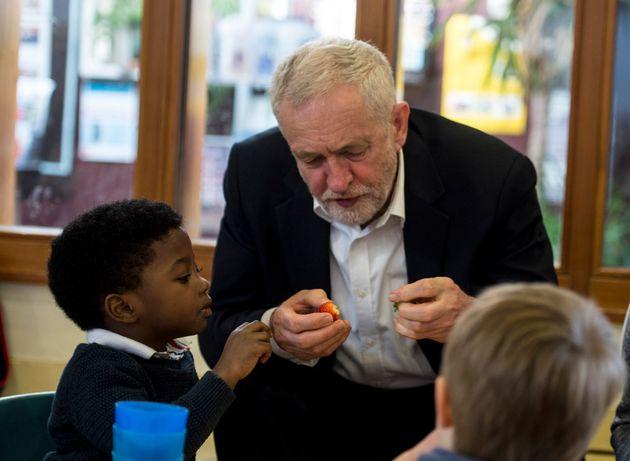 Jeremy Corbyn visits a Sure Start centre in south
