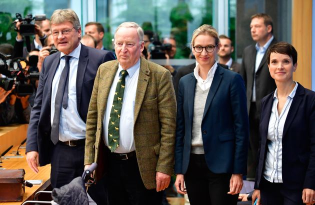 AfD officials at a press conference on Monday, after it won seats in the Bundestag.(L-R) Co-leader Joerg...