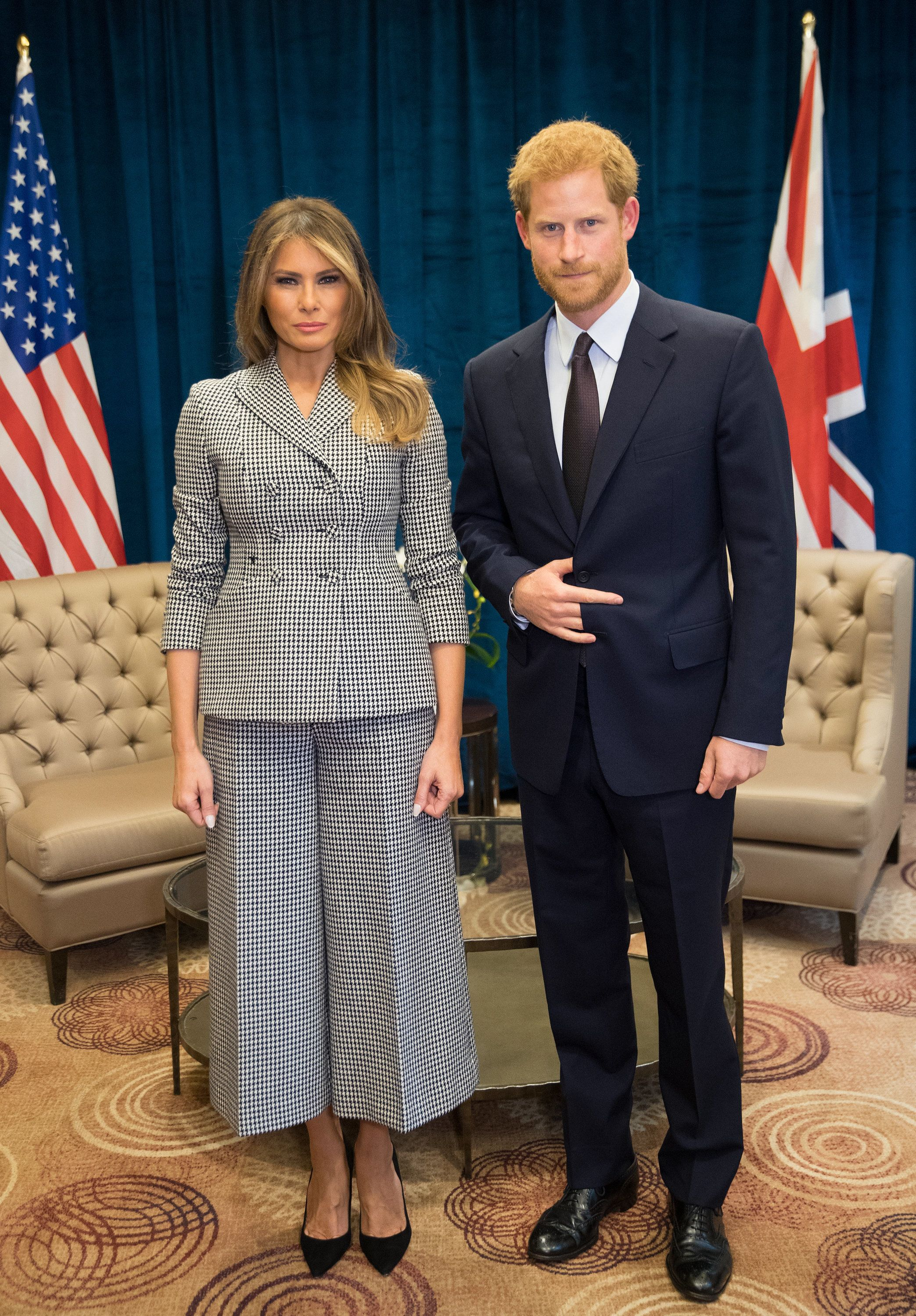 TORONTO, ON - SEPTEMBER 23:  (NO UK SALES FOR 28 DAYS) Prince Harry meets Melania Trump  on day 1 of the Invictus Games Toronto 2017 on September 23, 2017 in Tornonto, Canada.  The Games use the power of sport to inspire recovery, support rehabilitation and generate a wider understanding and respect for the Armed Forces.  (Photo by Pool/Samir Hussein/WireImage)