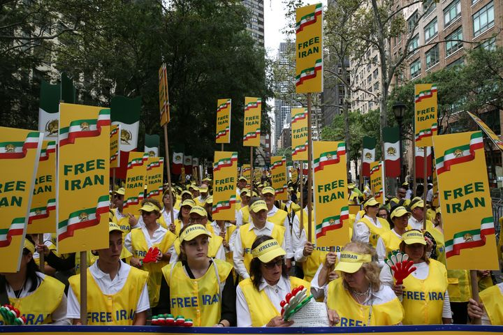 Iranian Americans protest for greater freedom in Iran at a demonstration in New York