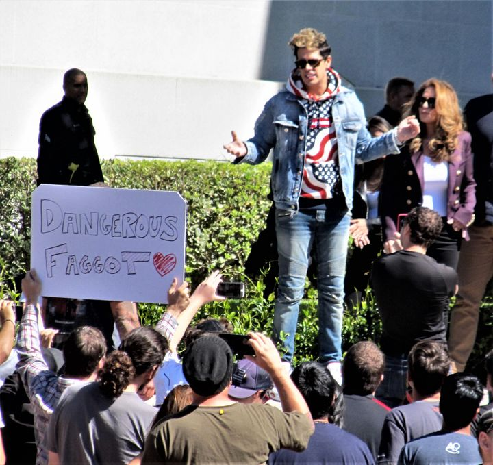 <em>Milo Yiannopoulos, appearing on the Cal campus around noon on September 24th.  (To the uninformed, this photo might look