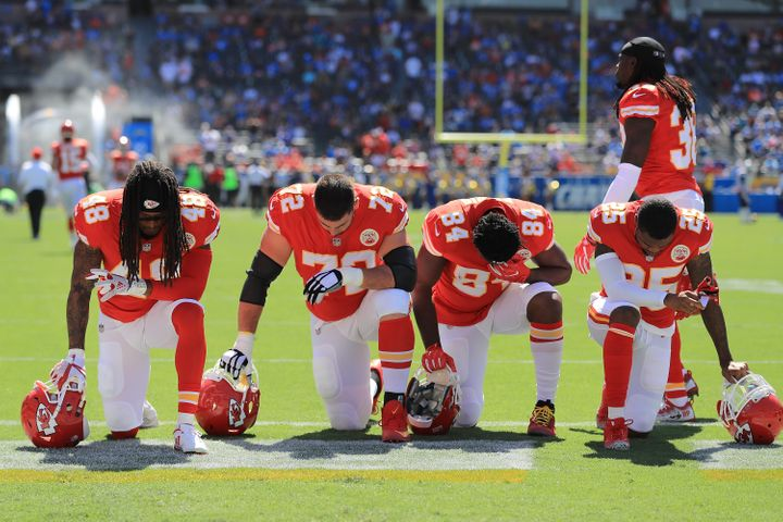Players from the Kansas City Chiefs seen taking a knee before a game on Sept. 24.