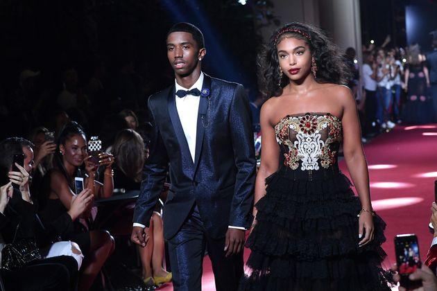 Christian Combs and Lori Harvey walk the runway at the Dolce & Gabbana secret show during Milan Fashion...