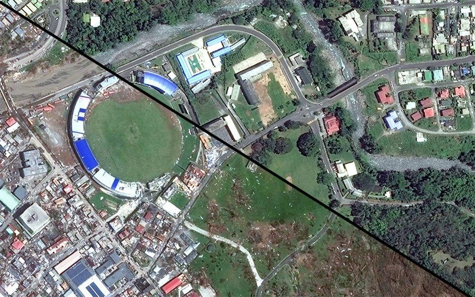 Satellite images of Roseau, the capital of Dominica, on May 1 (right) and Sept. 22, 2017.