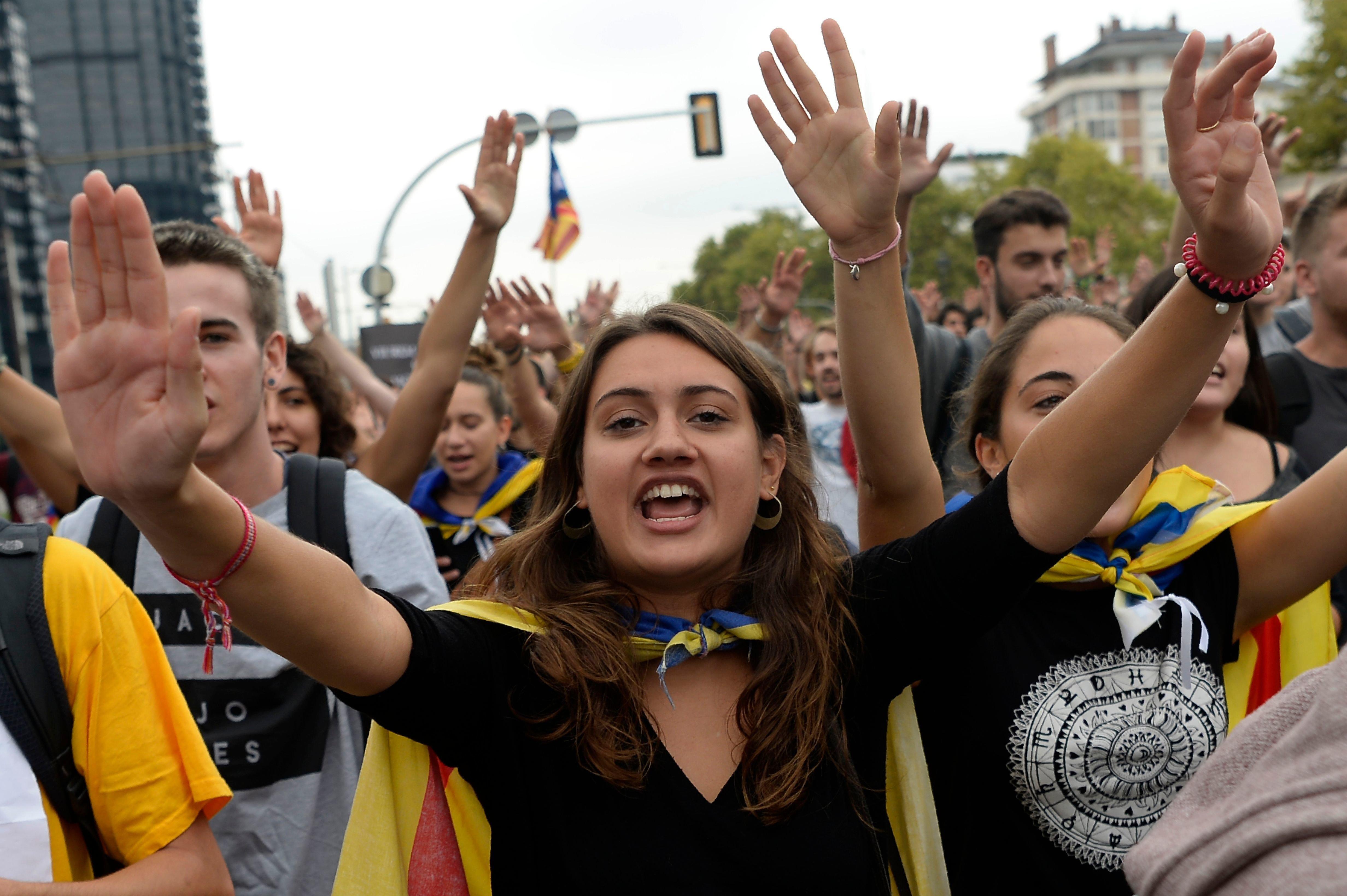 Catalan students during a pro-referendum demonstrationin Barcelona, Spain, Sept. 22.