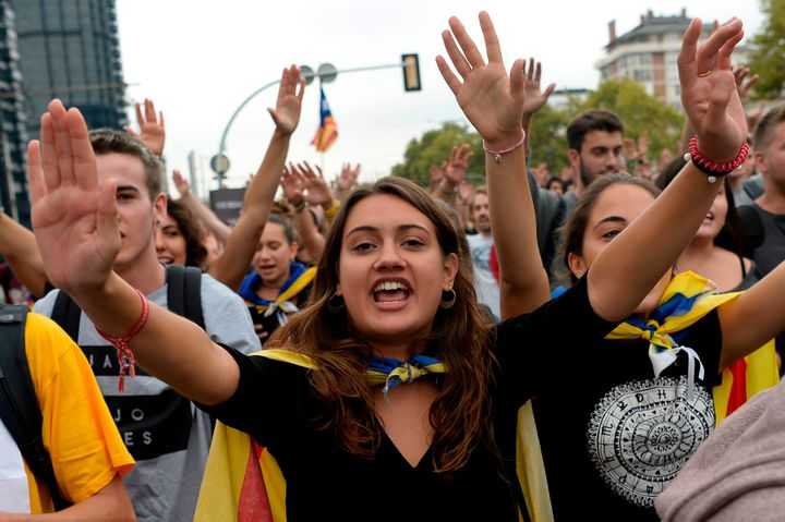 Catalan students during a pro-referendum demonstration in Barcelona, Spain, Sept. 22.