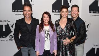NEW YORK, NY - SEPTEMBER 23:  (L-R) Eric McCormack, Megan Mullally, Debra Messing and Sean Hayes attend the Tribeca TV Festival exclusive celebration for Will & Grace at Cinepolis Chelsea on September 23, 2017 in New York City.  (Photo by Nicholas Hunt/Getty Images for Tribeca TV Festival)