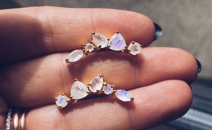 Moonstone wing ear climbers