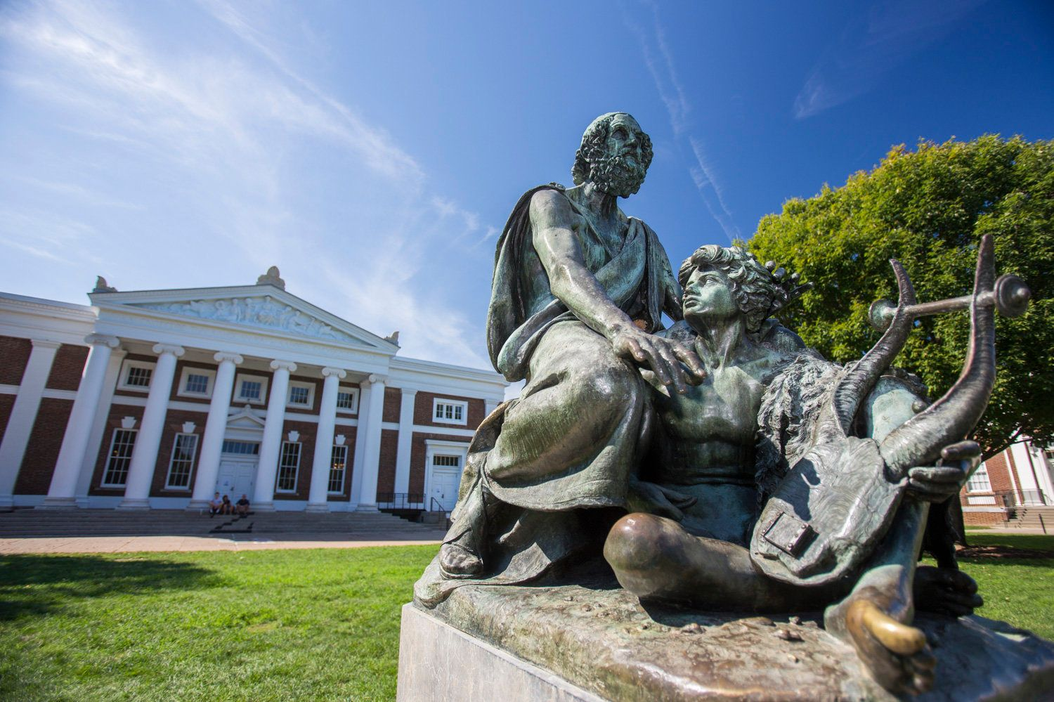 A statue of the Greek philosopher Homer sits on the south side of the Lawn at the University of Virginia. About&nbs