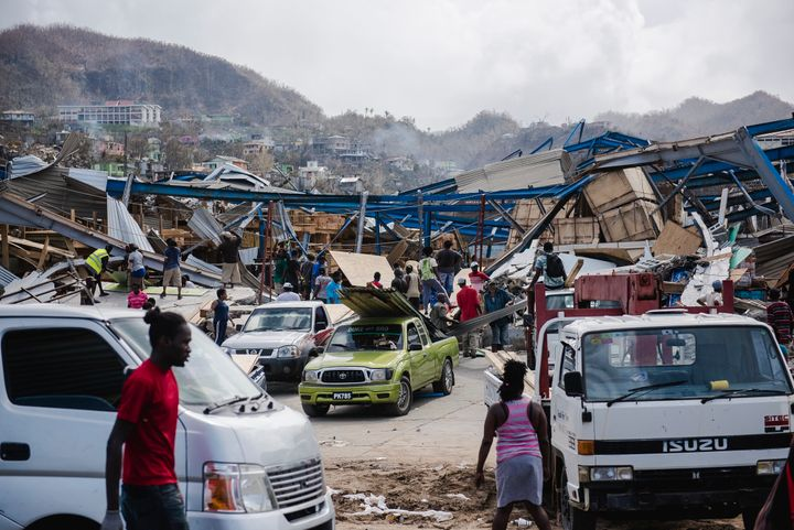 The Dominican town of Canefield is seen in this picture taken Friday, four days after Hurricane Maria.