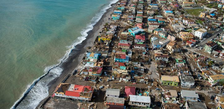 An aerial view of Roseau, the capital of Dominica, shows the destruction on Thursday, three days after passage of Hurricane M